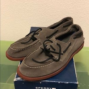 Suede Gray Boys Sperry Top Siders